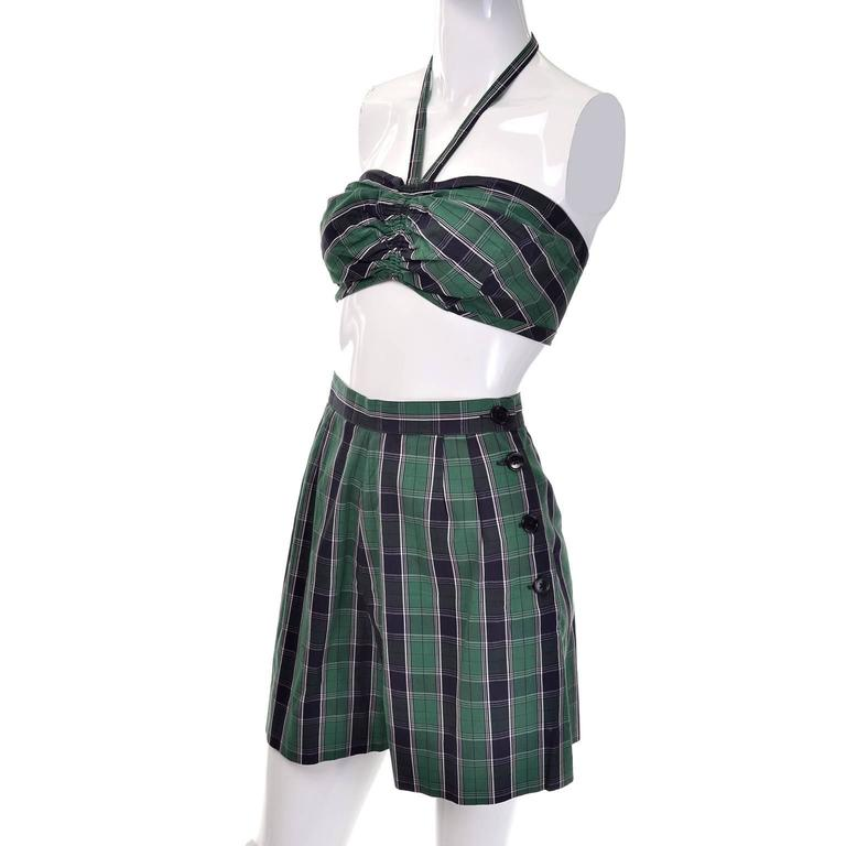 Dorothy Cox for McMullen Plaid Shorts Shirt Halter Bandeau Top Playsuit, 1940s   In Excellent Condition For Sale In Portland, OR