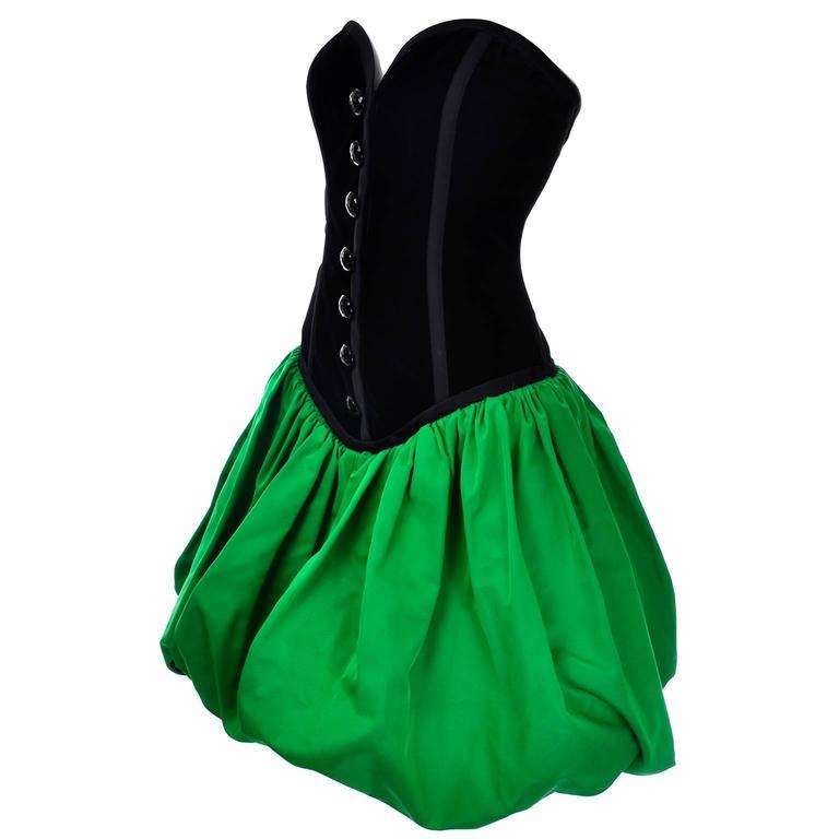 Yves Saint Laurent 1988 YSL Evening Dress in Black Velvet & Green Taffeta For Sale
