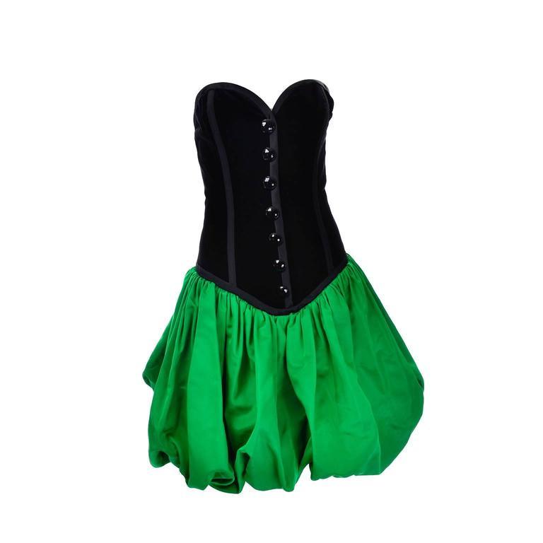 Yves Saint Laurent 1988 YSL Evening Dress in Black Velvet & Green Taffeta For Sale 1