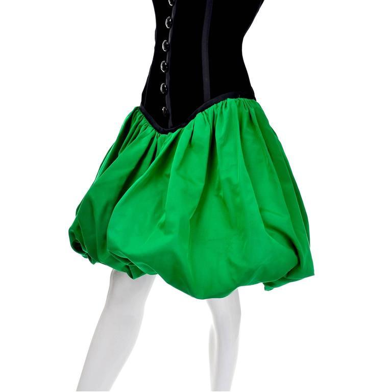 Women's Yves Saint Laurent 1988 YSL Evening Dress in Black Velvet & Green Taffeta For Sale