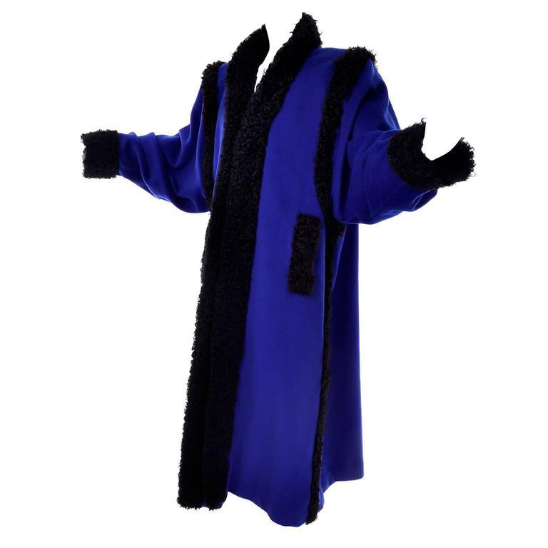 Yves Saint Laurent Rive Gauche Cobalt Blue Wool Vintage Coat YSL Size 38