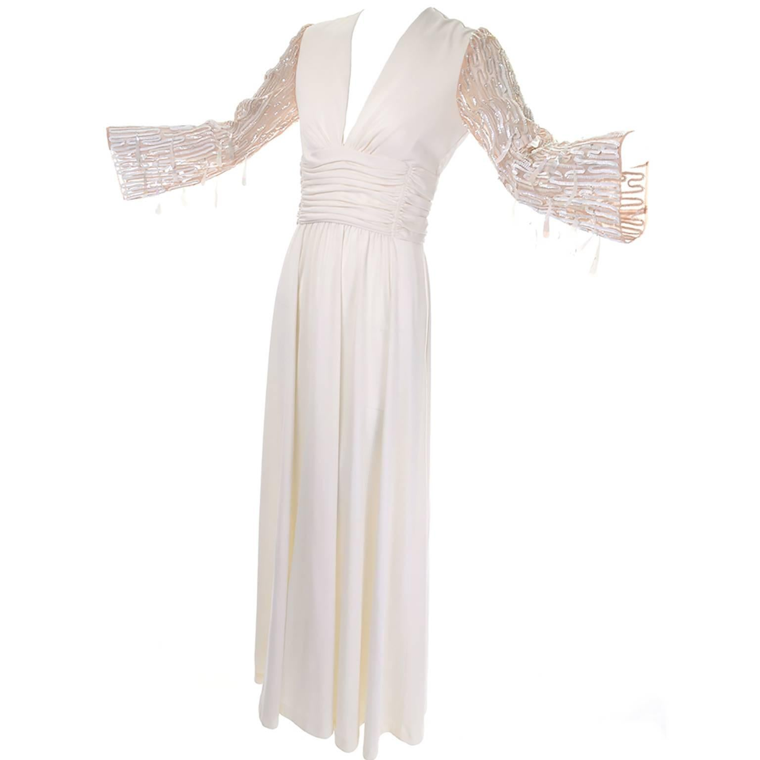 1970s Lilli Diamond Vintage Dress Drop Sequin Statement Sleeves Size 6
