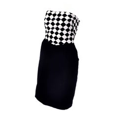 1980s Victor Costa Vintage Dress & Jacket in Black & White Diamond Check