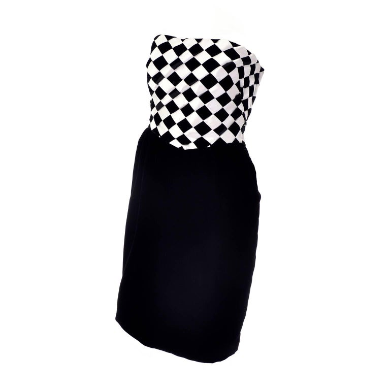 1980s Victor Costa Vintage Dress & Jacket in Black & White Diamond Check For Sale
