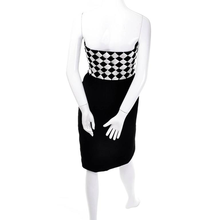 1980s Victor Costa Vintage Dress & Jacket in Black & White Diamond Check For Sale 1