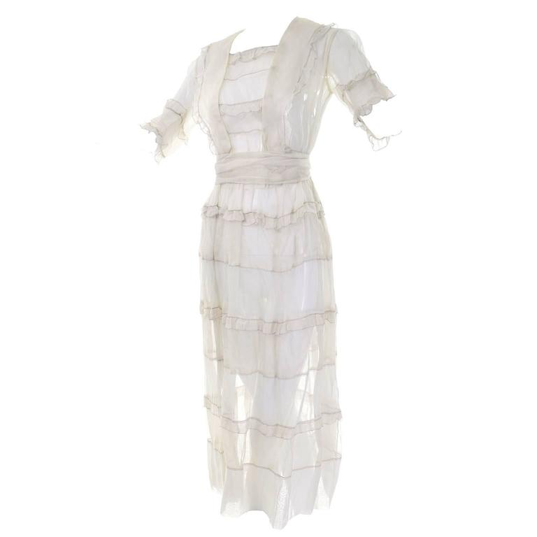 936b9263d1e Ivory Edwardian Vintage Dress in Sheer Organdy Ruffles With Sash Size 4 6  For Sale