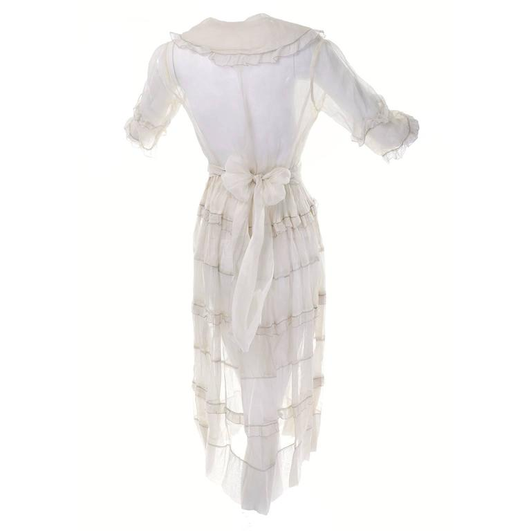 Women's Ivory Edwardian Vintage Dress in Sheer Organdy Ruffles With Sash Size 4/6 For Sale