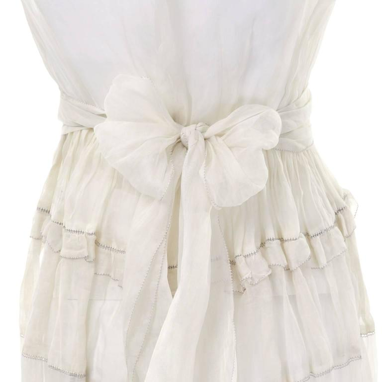 Gray Ivory Edwardian Vintage Dress in Sheer Organdy Ruffles With Sash Size 4/6 For Sale