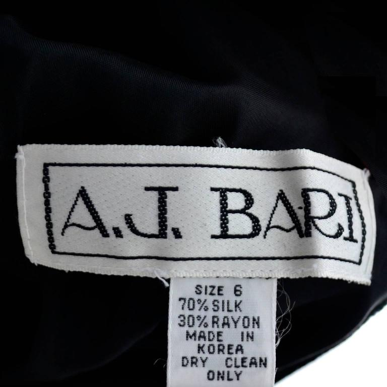1980s AJ Bari Vintage Black Silk Velvet Dress w/ Open Back and Blue Sash & Bow For Sale 1
