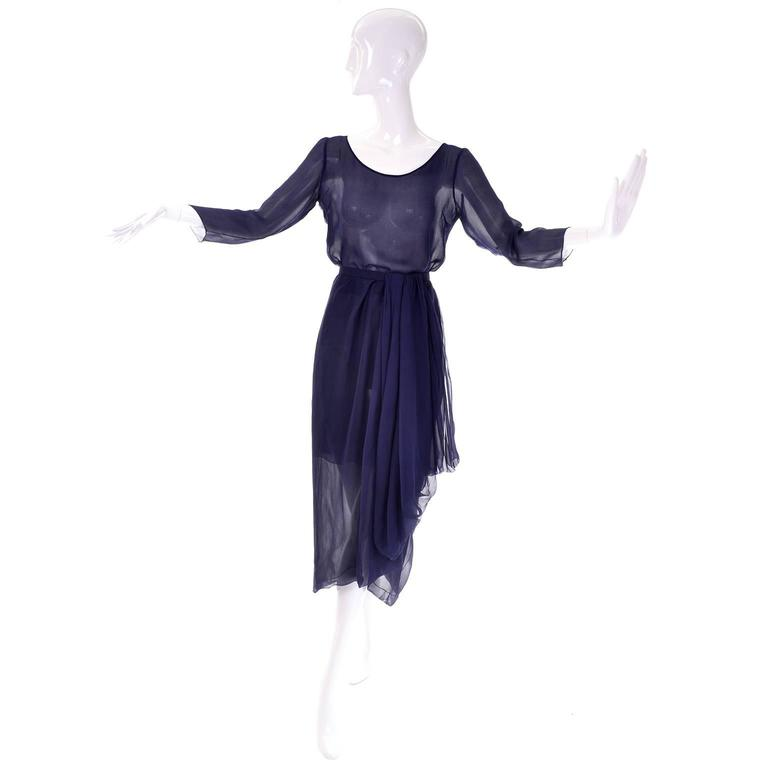 Vintage Christian Dior Haute Couture Numbered Navy Blue Silk Chiffon 2Pc Dress 2 2