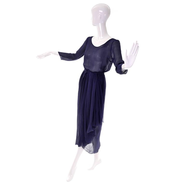 Vintage Christian Dior Haute Couture Numbered Navy Blue Silk Chiffon 2Pc Dress 2 3