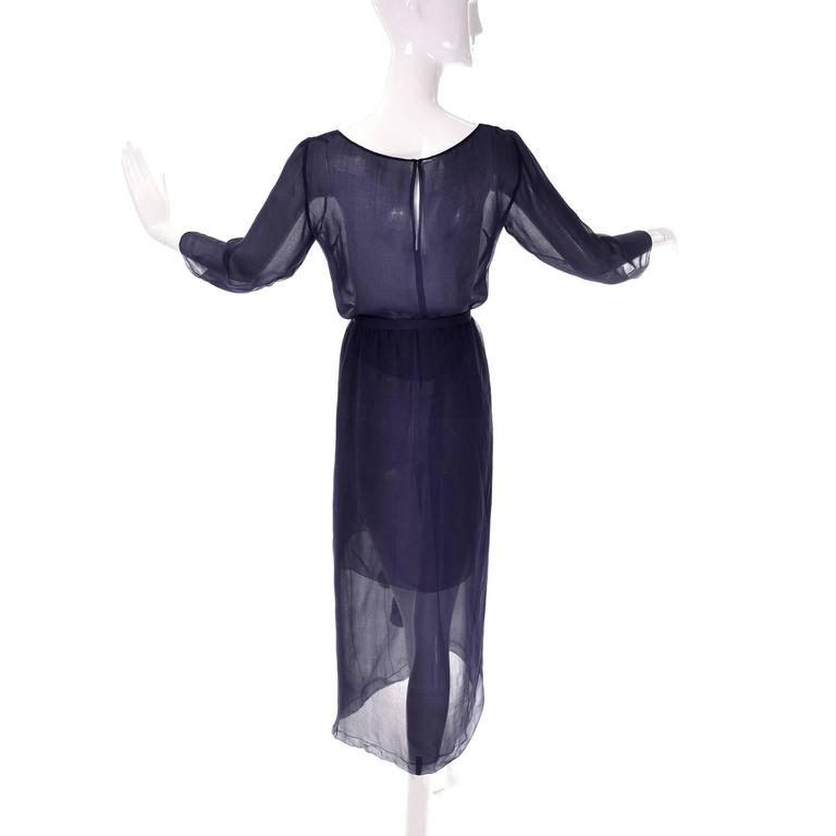 Vintage Christian Dior Haute Couture Dress Numbered in Navy Blue Silk Chiffon XS In Excellent Condition For Sale In Portland, OR