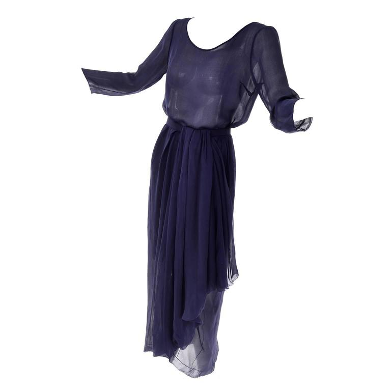 Vintage Christian Dior Haute Couture Dress Numbered in Navy Blue Silk Chiffon XS
