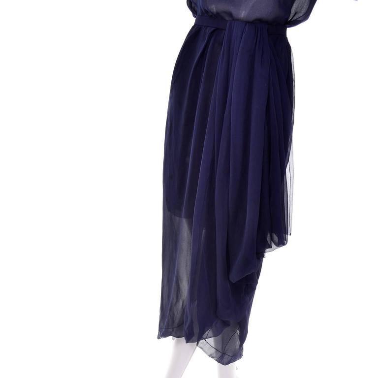 Women's Vintage Christian Dior Haute Couture Dress Numbered in Navy Blue Silk Chiffon XS For Sale
