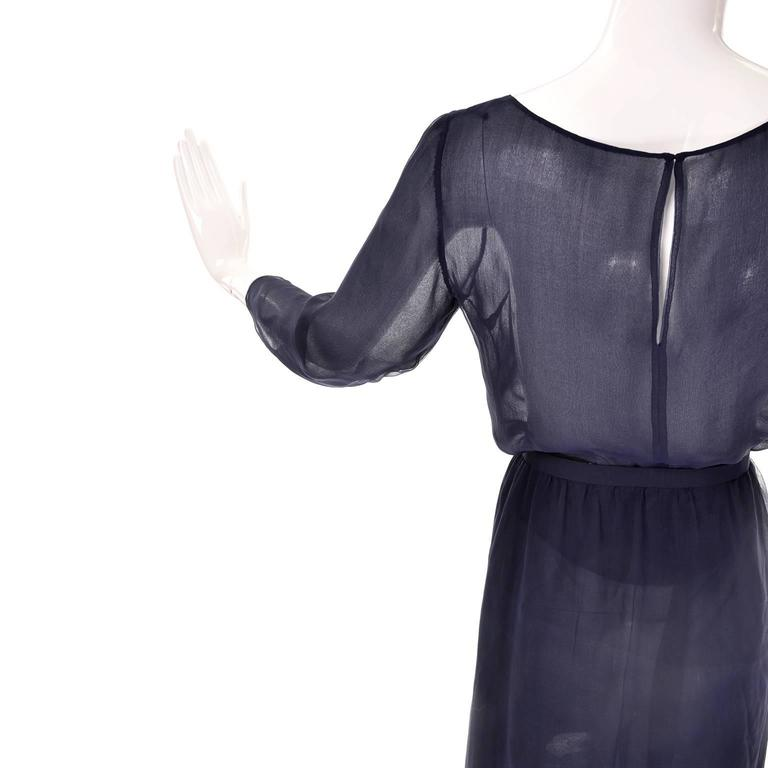 Vintage Christian Dior Haute Couture Dress Numbered in Navy Blue Silk Chiffon XS For Sale 1
