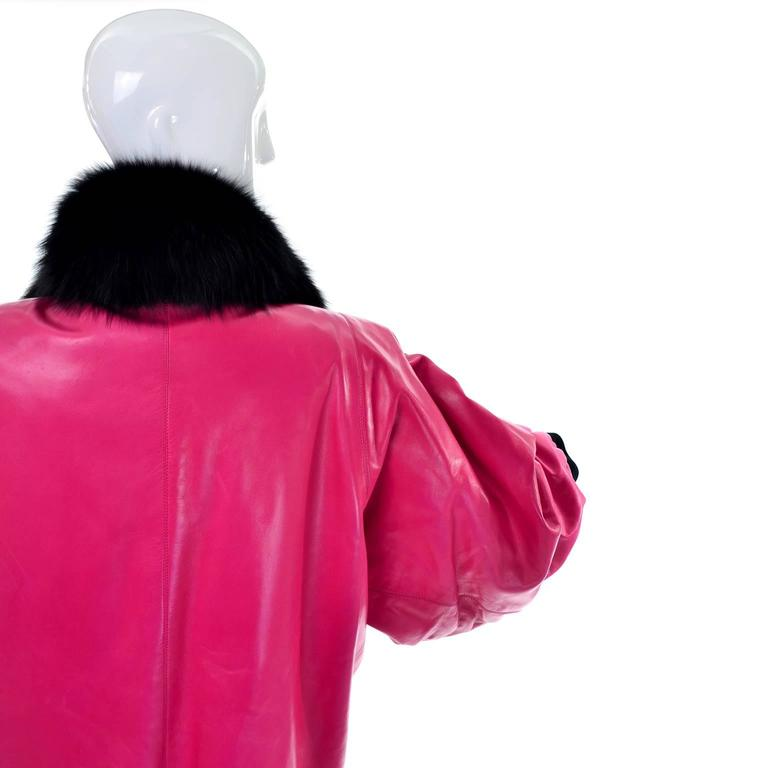 Documented YSL HC 1987/88 Yves Saint Laurent Pink Leather Coat Fur Jacket For Sale 1