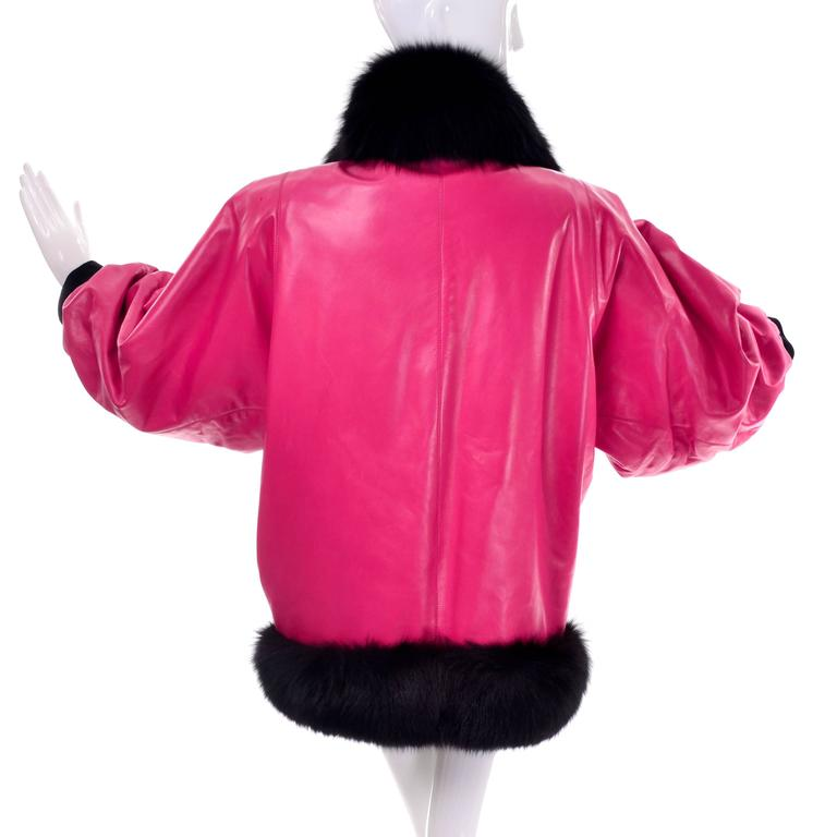 Documented YSL HC 1987/88 Yves Saint Laurent Pink Leather Coat Fur Jacket For Sale 2