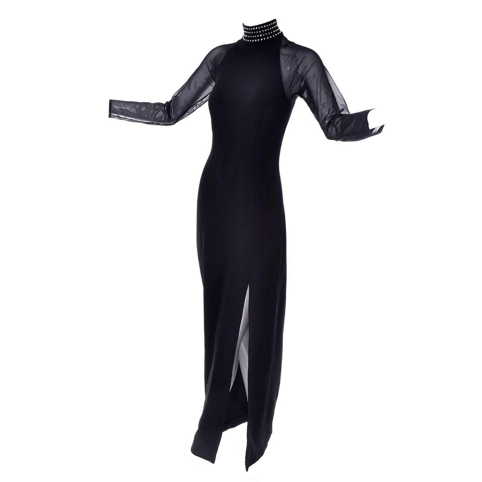 1980s Tadashi Shoji Vintage Black Bodycon Dress Sheer Sleeves Rhinestones 8/10