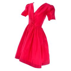 Oscar de la Renta Vintage Red Silk Dress Bonwit Teller 4/6