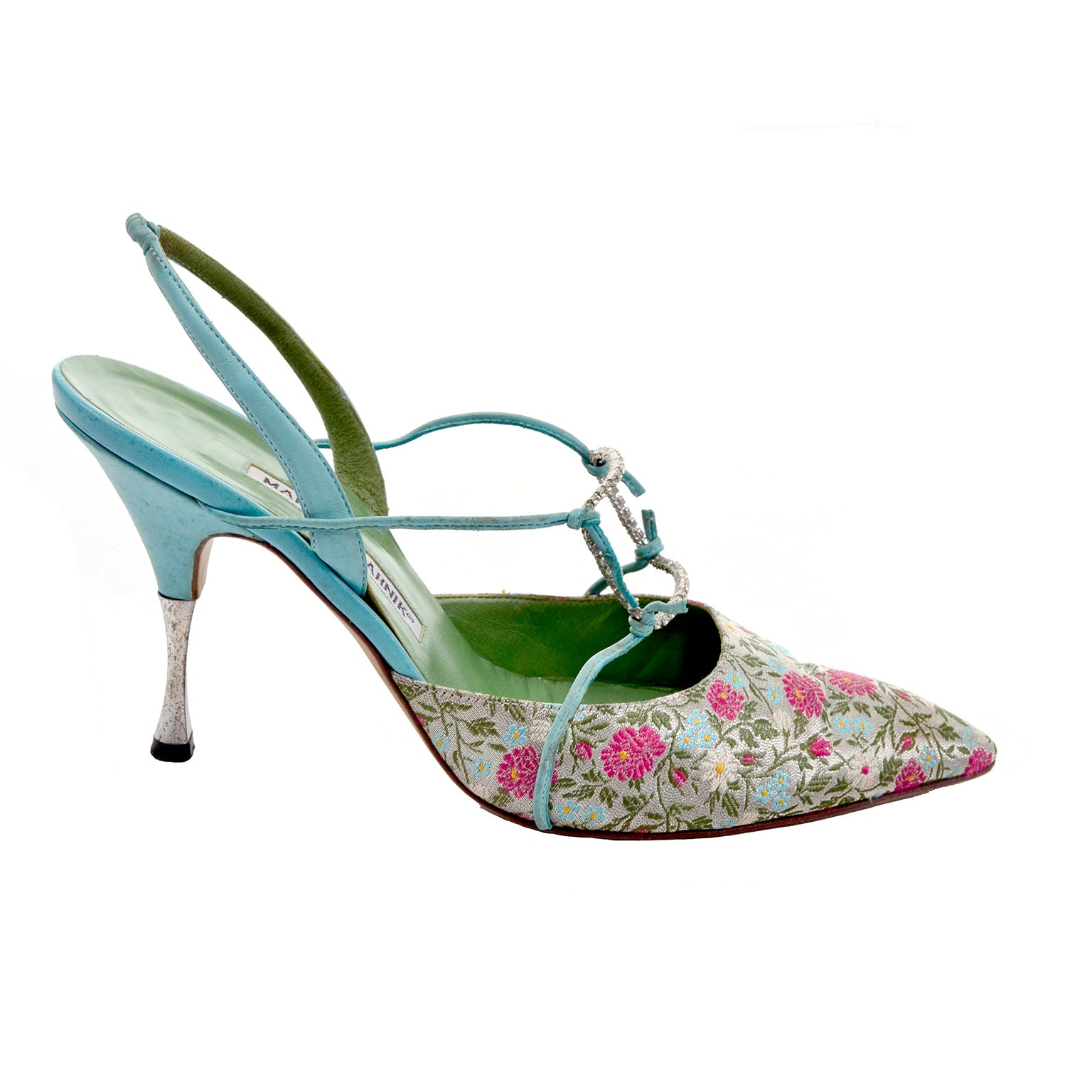 386ce629025 Manolo Blahnik Vintage Floral Shoes Size 40 Rhinestones at 1stdibs
