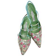 Manolo Blahnik Vintage Floral Shoes Size 40 Rhinestones
