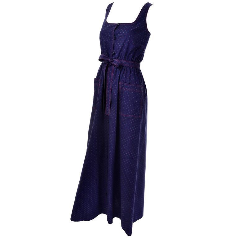 Black Albert Nipon Vintage Blue Red Polka Dot Dress Matching Kerchief Scarf For Sale