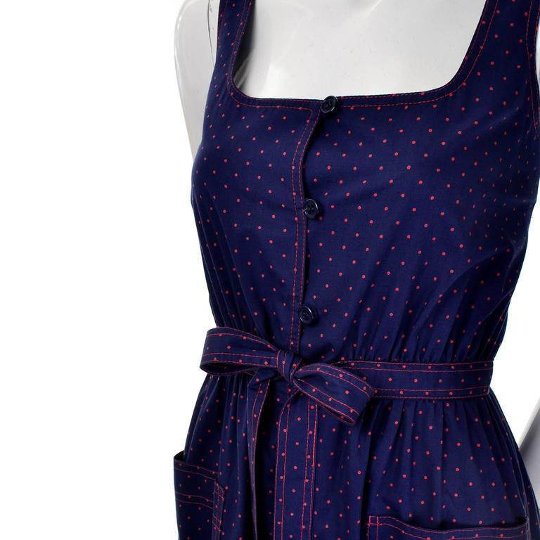 Women's Albert Nipon Vintage Blue Red Polka Dot Dress Matching Kerchief Scarf For Sale