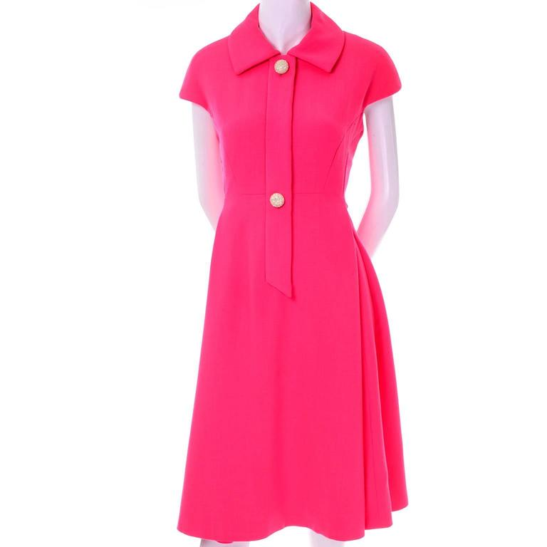 Geoffrey Beene Vintage Dress 1960's Hot Pink Salmon Rhinestone Buttons For Sale 1
