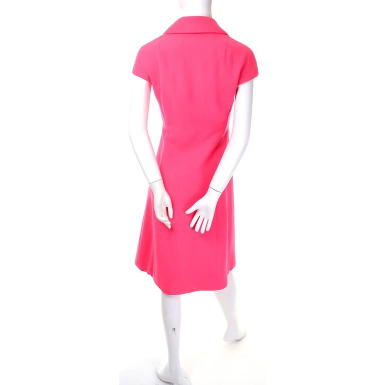 Women's Geoffrey Beene Vintage Dress 1960's Hot Pink Salmon Rhinestone Buttons For Sale