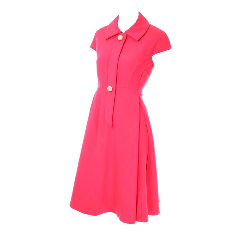 Geoffrey Beene Vintage Dress 1960's Hot Pink Salmon Rhinestone Buttons For Sale