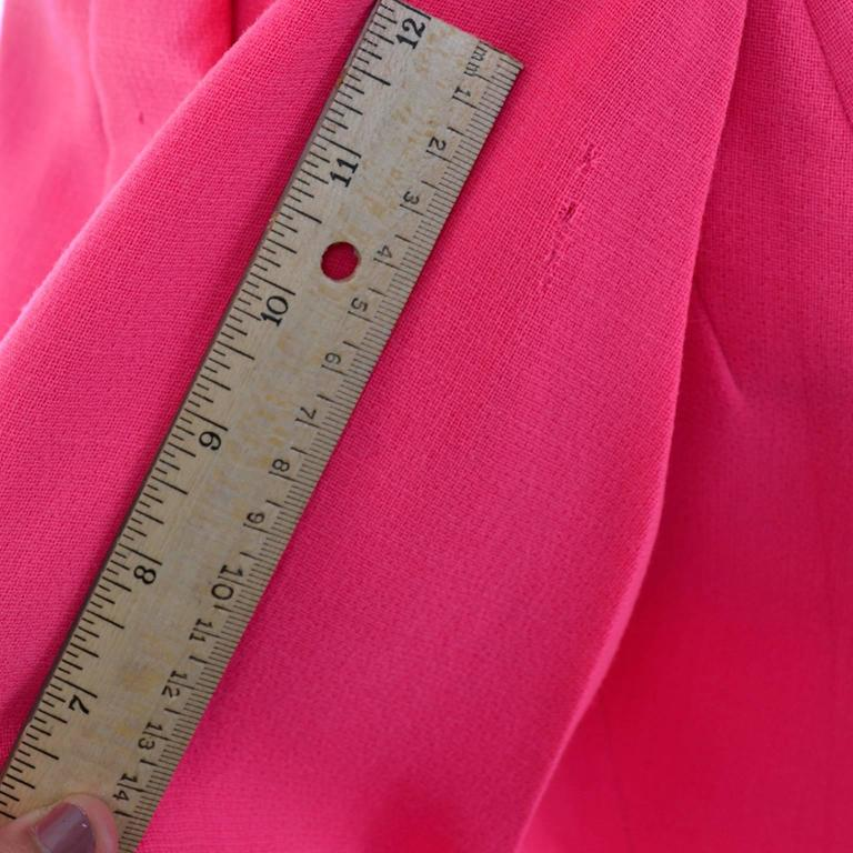 Geoffrey Beene Vintage Dress 1960's Hot Pink Salmon Rhinestone Buttons For Sale 3