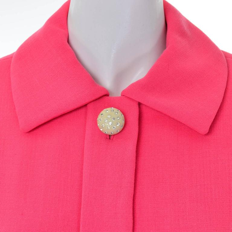 Geoffrey Beene Vintage Dress 1960's Hot Pink Salmon Rhinestone Buttons In Good Condition For Sale In Portland, OR