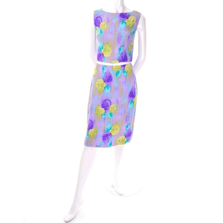New Vintage 1990s Gianni Versace Silk 2 pc Dress Cropped Top Skirt With Tags 3