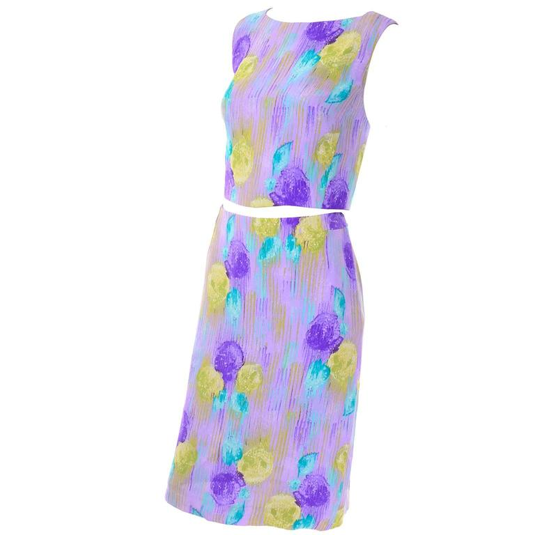 New Vintage 1990s Gianni Versace Silk 2 pc Dress Cropped Top Skirt With Tags 1