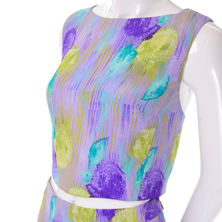 New Vintage 1990s Gianni Versace Silk 2 pc Dress Cropped Top Skirt With Tags 2