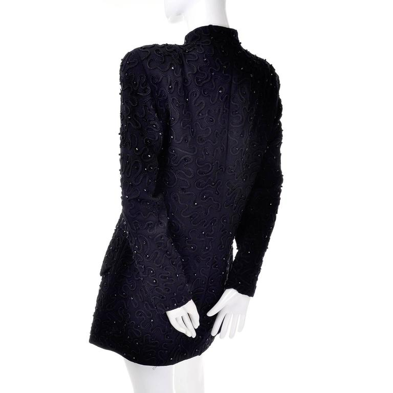 Early Donna Karan Black Label Beaded Black Evening Jacket  In Excellent Condition For Sale In Portland, OR