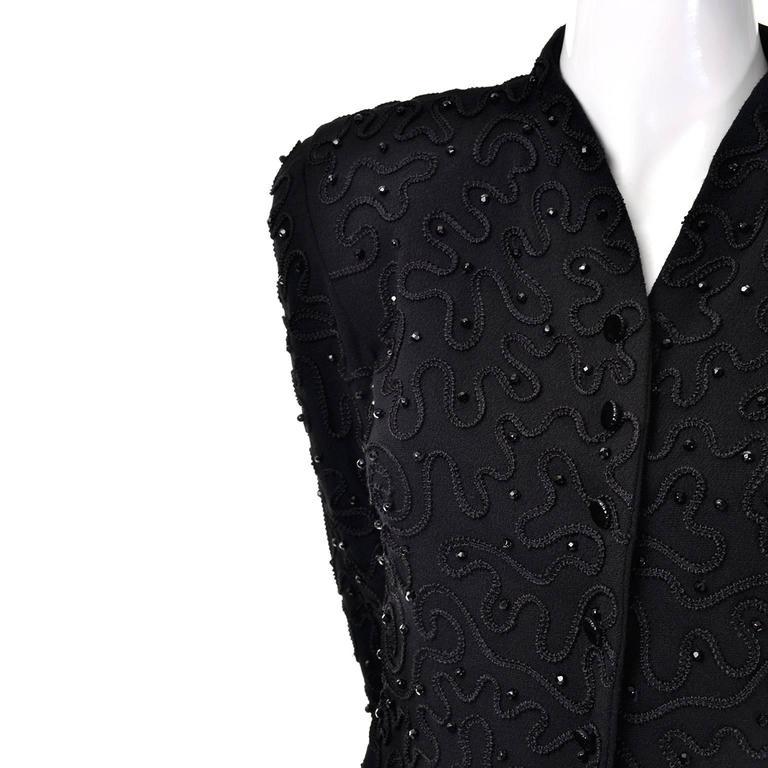 Women's Early Donna Karan Black Label Beaded Black Evening Jacket  For Sale