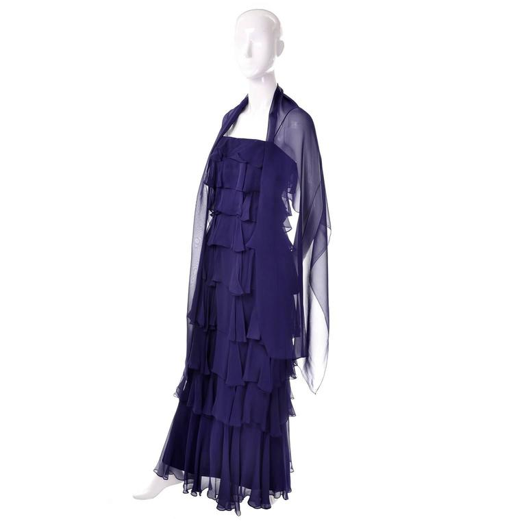 Fred Perlberg Originals Blue Silk Chiffon Ruffled Tiered Vintage Dress W Shawl In Excellent Condition For Sale In Portland, OR