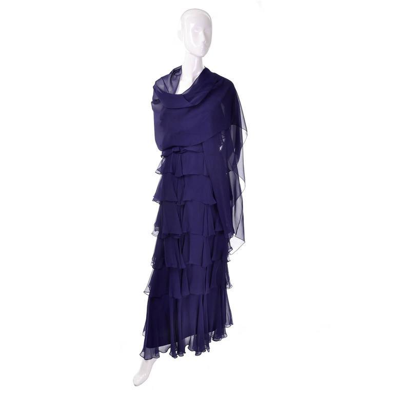 Women's Fred Perlberg Originals Blue Silk Chiffon Ruffled Tiered Vintage Dress W Shawl For Sale