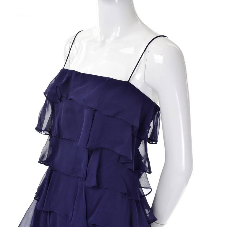 Black Fred Perlberg Originals Blue Silk Chiffon Ruffled Tiered Vintage Dress W Shawl For Sale