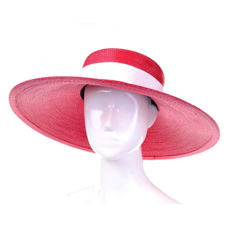 YSL Cherry Red Wide Brim Vintage Straw Hat Yves Saint Laurent 3