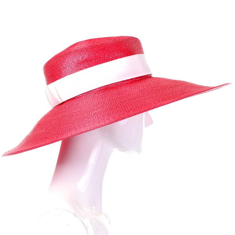 YSL Cherry Red Wide Brim Vintage Straw Hat Yves Saint Laurent 2