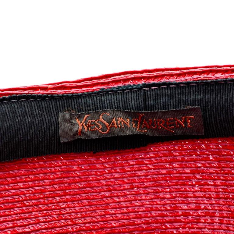 YSL Cherry Red Wide Brim Vintage Straw Hat Yves Saint Laurent 7