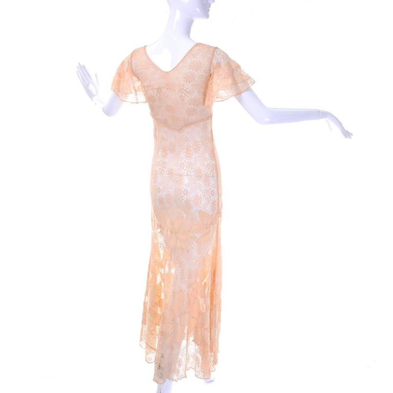White 1930s Bias Silk & Lace Vintage Dress in Peach W Appliqués Butterfly Sleeves For Sale