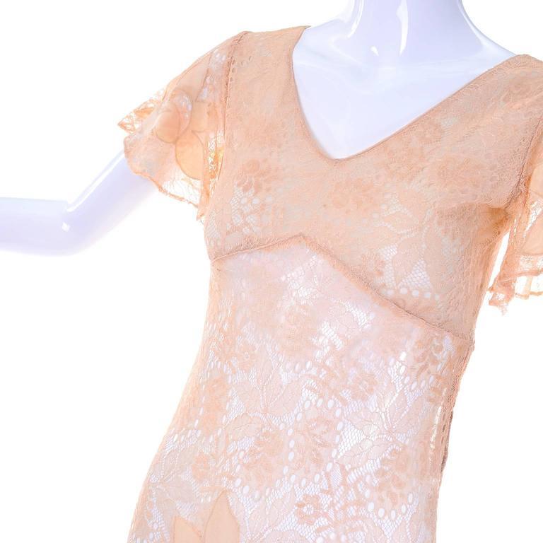 Women's 1930s Bias Silk & Lace Vintage Dress in Peach W Appliqués Butterfly Sleeves For Sale