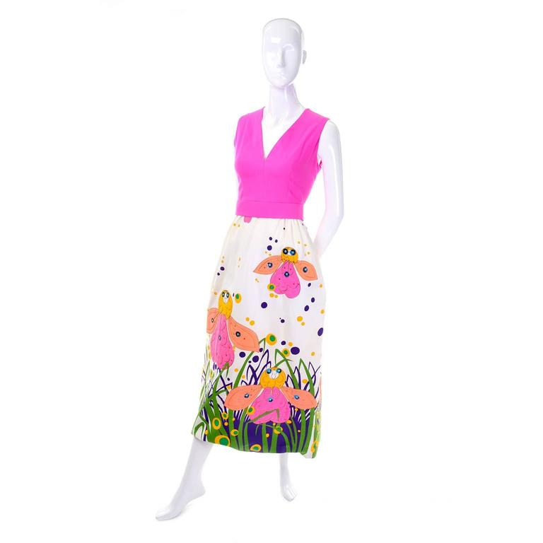 Rare 1960s Gino Charles Vintage Bright Bug Butterfly Floral Maxi Dress In Good Condition For Sale In Portland, OR