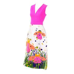 Rare 1960s Gino Charles Vintage Bright Bug Butterfly Floral Maxi Dress