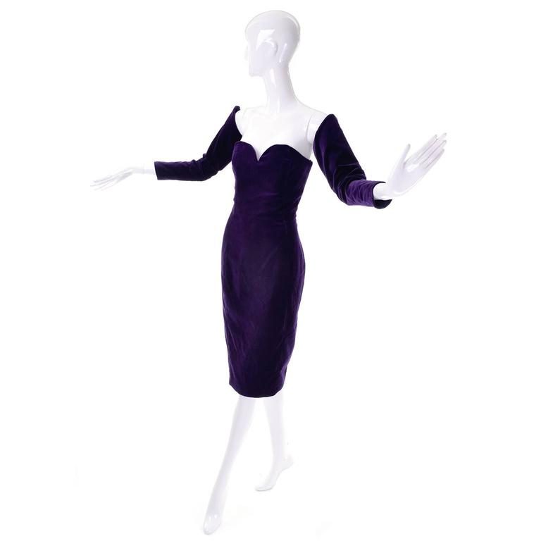 This is an absolutely stunning vintage dress from William Travilla from the 1980's!  We are fortunate to have had another one of these dresses that we sold a while back, that doesn't happen very often!  This incredible strapless purple velvet dress