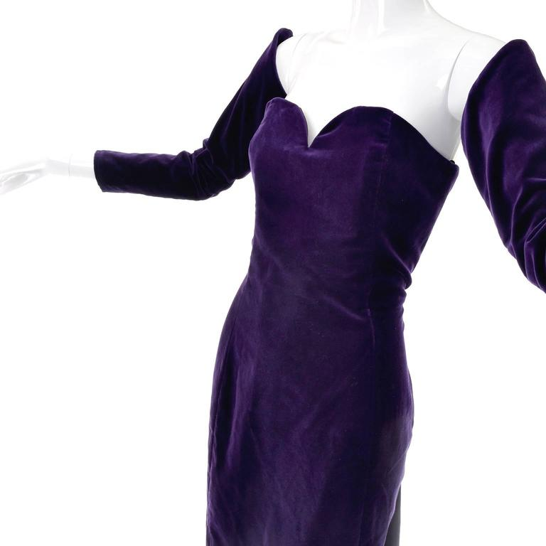 Women's 1980s Travilla Purple Velvet Strapless Dress With Detached Sleeves For Sale