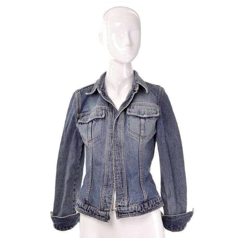 Dolce & Gabbana Distressed Jean Denim Jacket Italy Size 2 4
